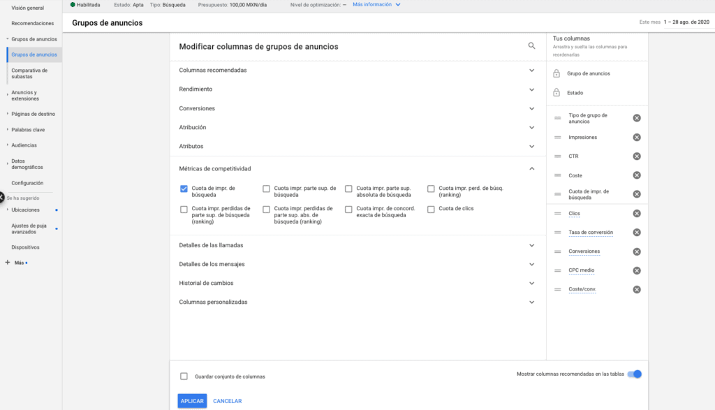 Seleccion de Visualizacion de Columnas en Google Ads